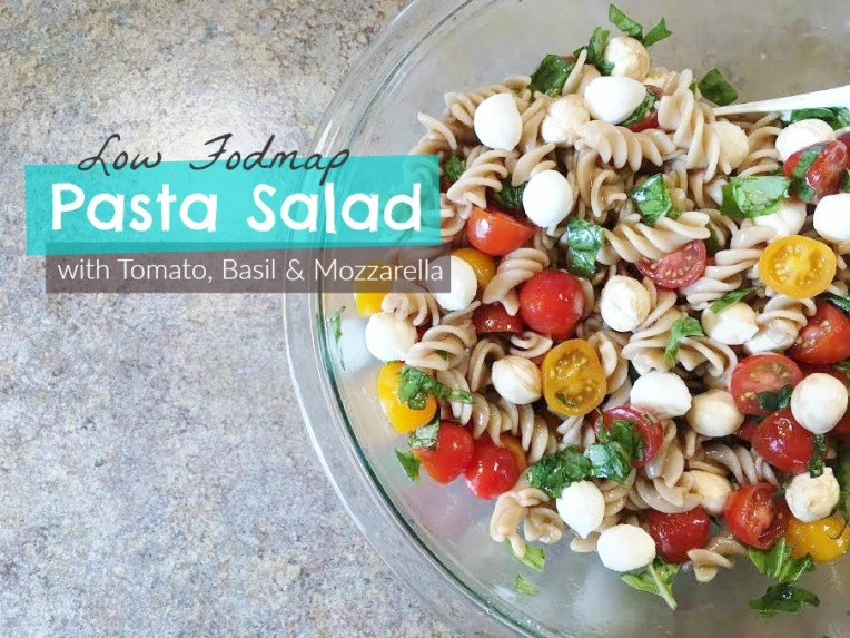 Low Fodmap pasta salad with tomato basil and mozzarella